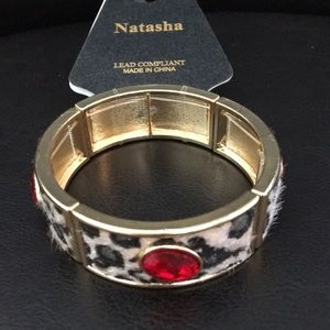 New Natasha Faux Fur & Red Crystals Stretch Bracel